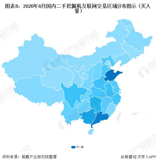圖表8:2020年8月國內二手挖掘機互聯網交易區域分布圖示(買入量)