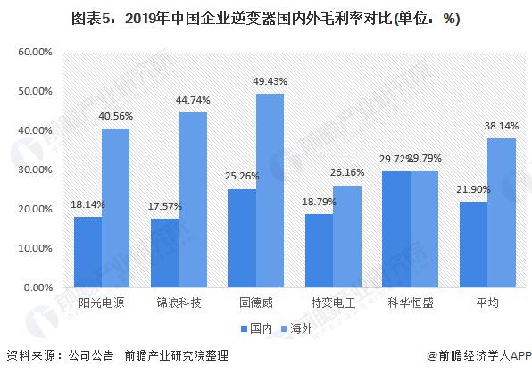图表5:2019年中国企业逆变器国内外毛利率对比(单位:%)