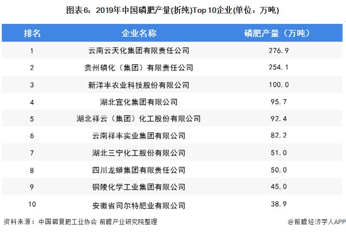 图表6:2019年中国磷肥产量(折纯)Top 10企业(单位:万吨)