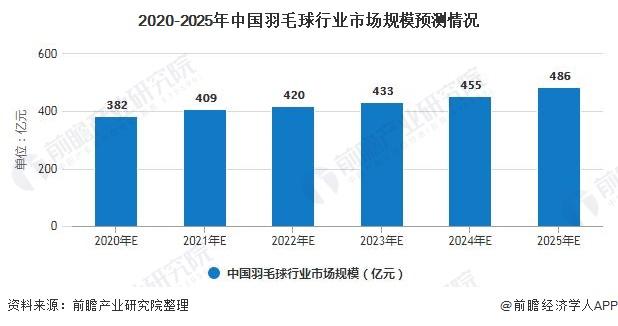 2020-2025年中国羽毛球行业市场规模预测情况