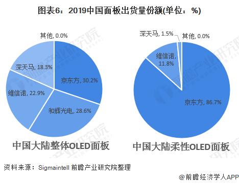 圖表6:2019中國面板出貨量份額(單位:%)