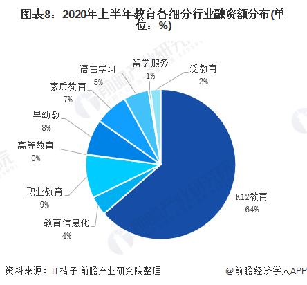 图表8:2020年上半年教育各细分行业融资额分布(单位:%)