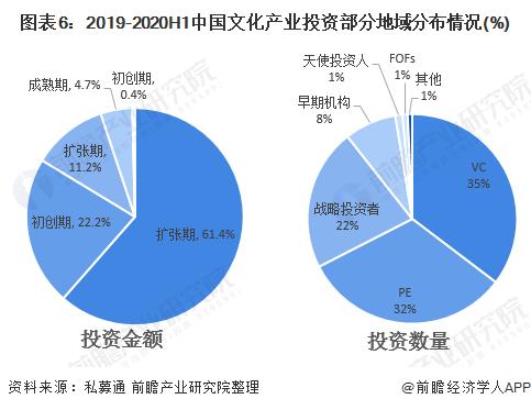 图表6:2019-2020H1中国文化产业投资部分地域分布情况(%)