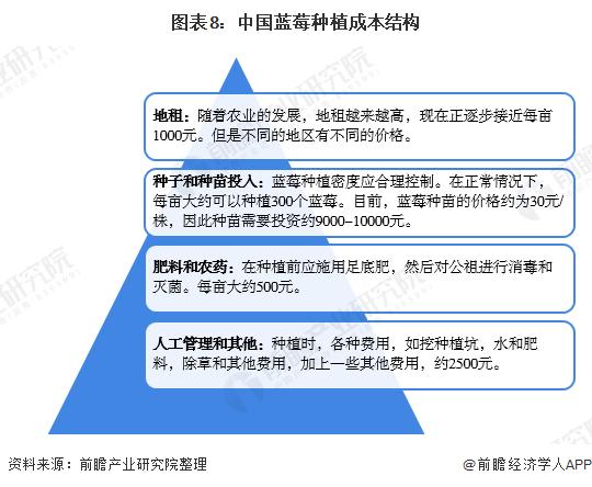 图表8:中国蓝莓种植成本结构