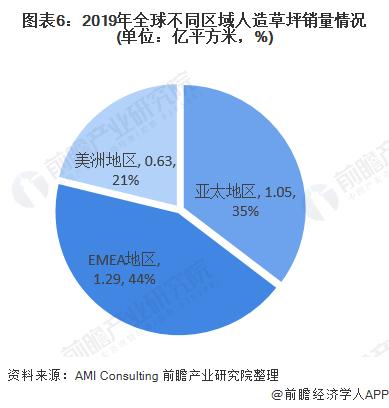 图表6:2019年全球不同区域人造草坪销量情况(单位:亿平方米,%)