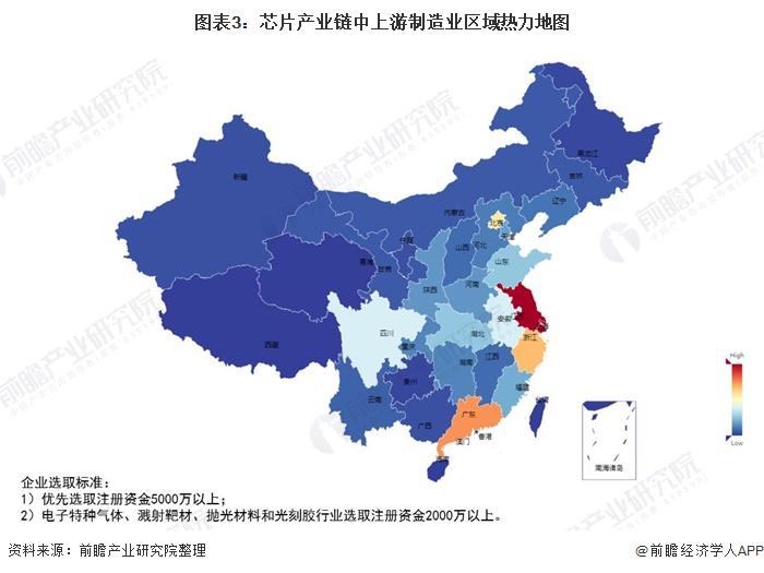 图表3:芯片产业链中上游制造业区域热力地图