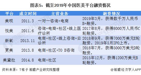 图表5:截至2019年中国医美平台融资情况