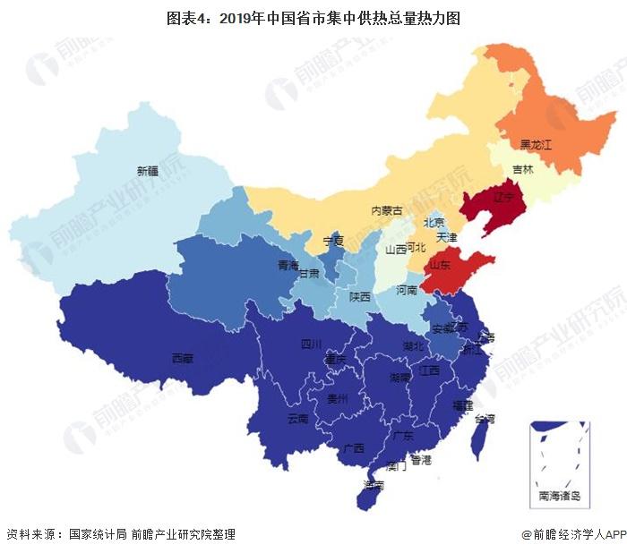 图表4:2019年中国省市集中供热总量热力图