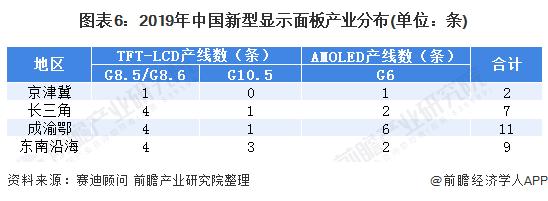 图表6:2019年中国新型显示面板产业分布(单位:条)