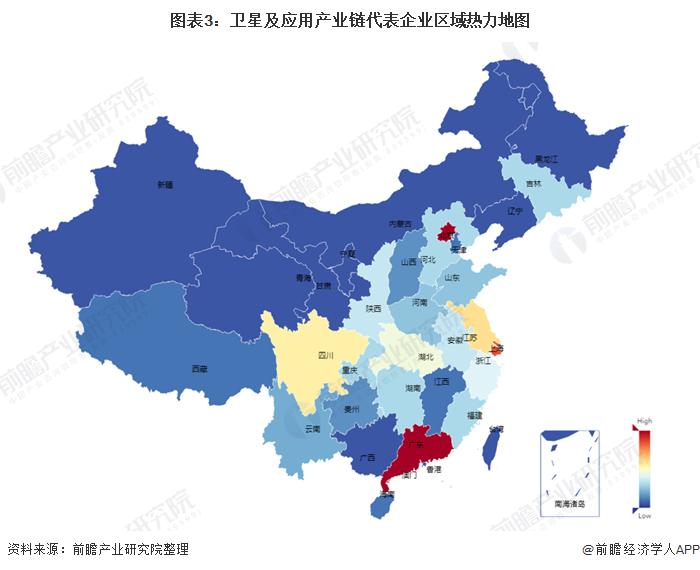 图表3:卫星及应用产业链代表企业区域热力地图