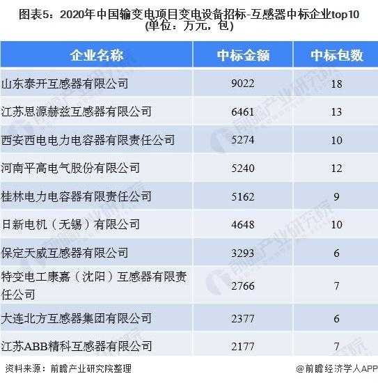 图表5:2020年中国输变电项目变电设备招标-互感器中标企业top10(单位:万元,包)