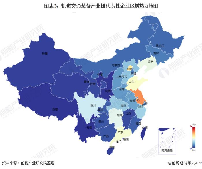图表3:轨道交通装备产业链代表性企业区域热力地图