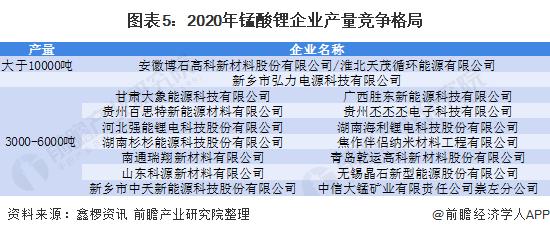 图表5:2020年锰酸锂企业产量竞争格局