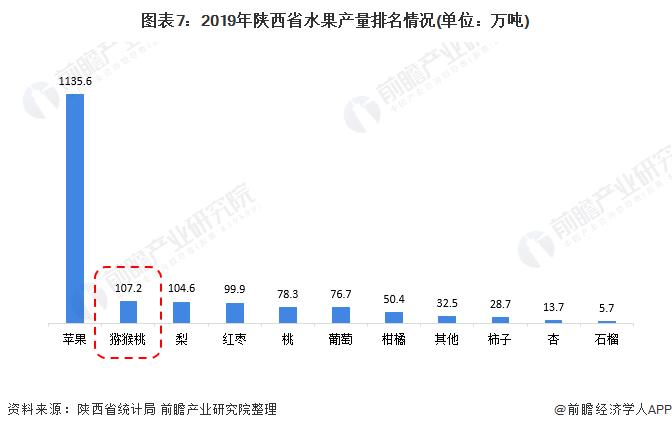 图表7:2019年陕西省水果产量排名情况(单位:万吨)