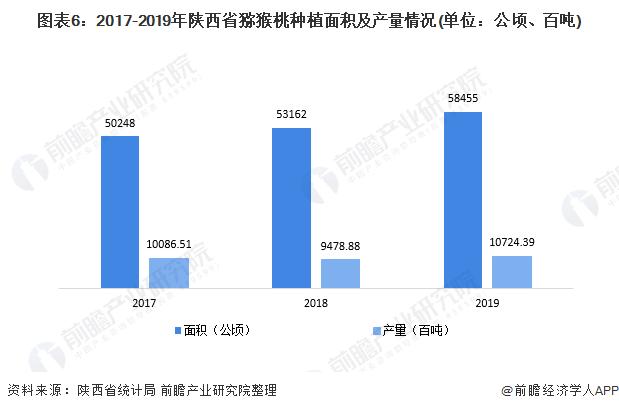 图表6:2017-2019年陕西省猕猴桃种植面积及产量情况(单位:公顷、百吨)