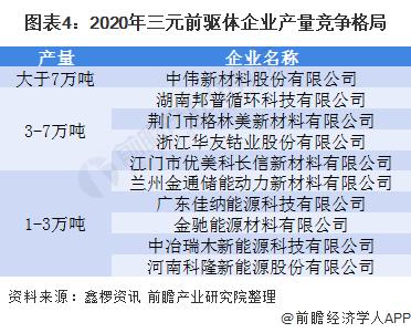 图表4:2020年三元前驱体企业产量竞争格局