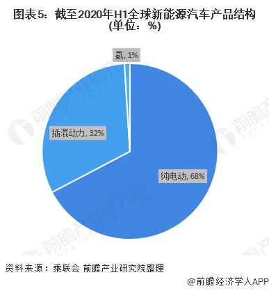 图表5:截至2020年H1全球新能源汽车产品结构(单位:%)