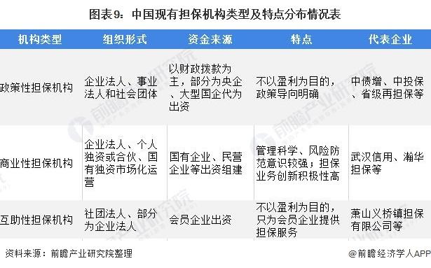 图表9:中国现有担保机构类型及特点分布情况表
