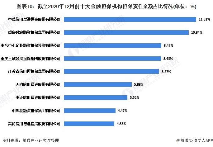 图表10:截至2020年12月前十大金融担保机构担保责任余额占比情况(单位:%)