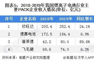 图表5:2018-2019年我国锂离子电池行业主要PACK企业收入情况(单位:亿元)