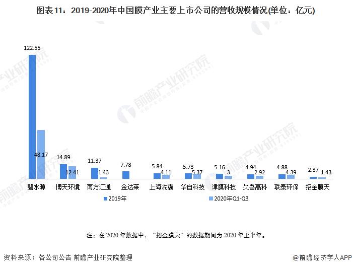 图表11:2019-2020年中国膜产业主要上市公司的营收规模情况(单位:亿元)