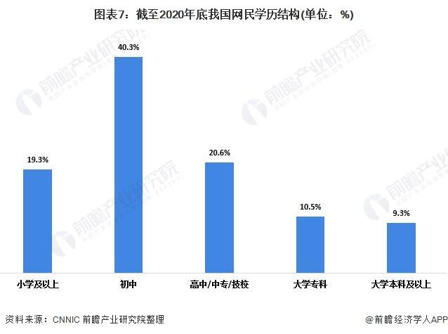 图表7:截至2020年底我国网民学历结构(单位:%)