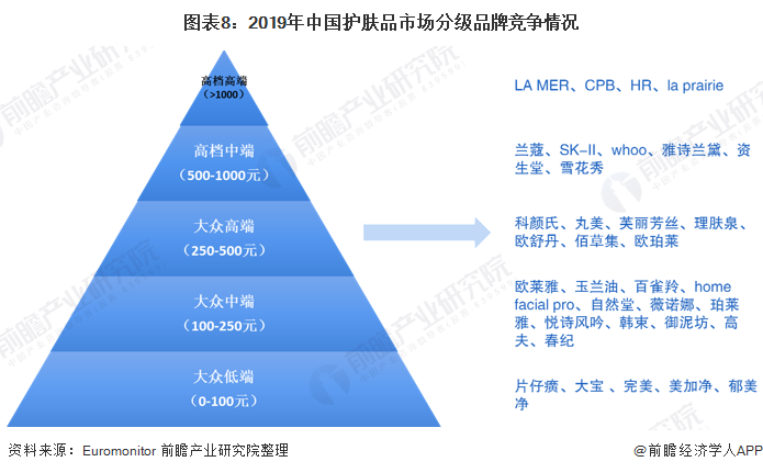 图表8:2019年中国护肤品市场分级品牌竞争情况