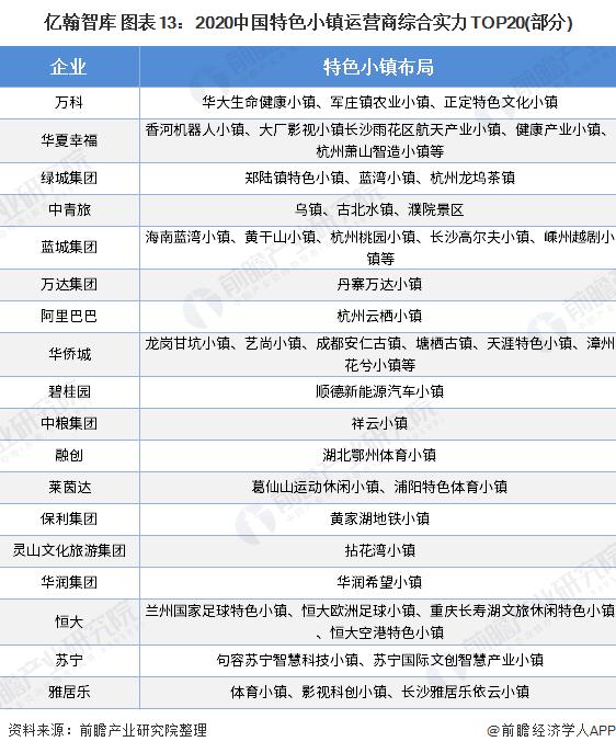 亿翰智库 图表13:2020中国特色小镇运营商综合实力TOP20(部分)