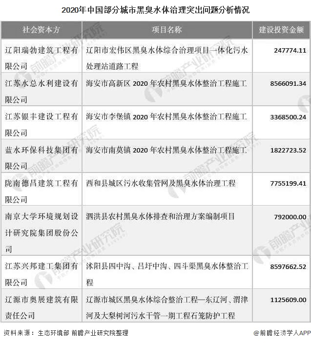 2020年中国部分城市黑臭水体治理突出问题分析情况