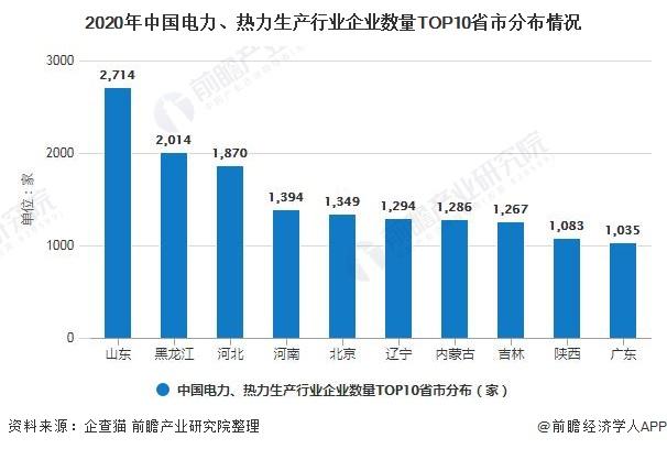 2020年中国电力、热力生产行业企业数量TOP10省市分布情况