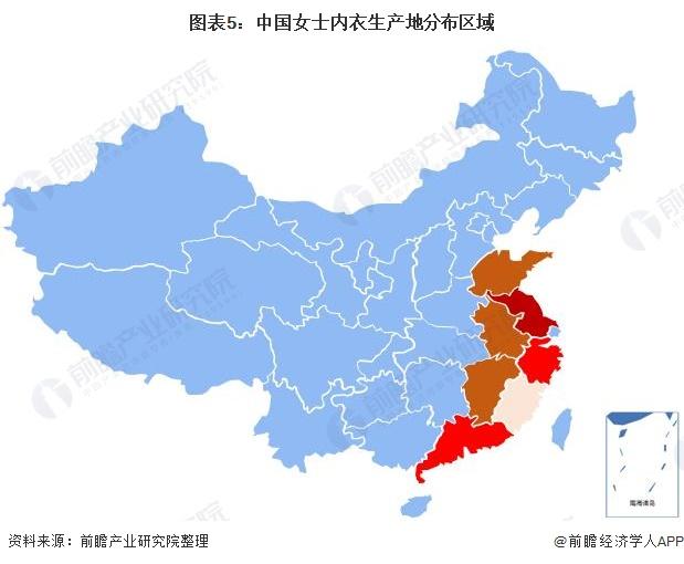 图表5:中国女士内衣生产地分布区域