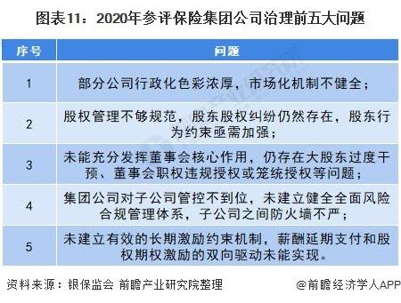 图表11:2020年参评保险集团公司治理前五大问题