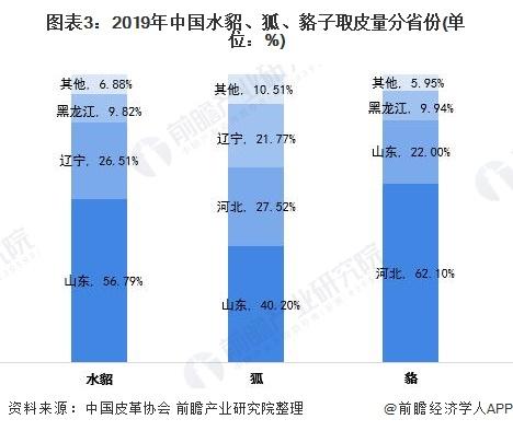 图表3:2019年中国水貂、狐、貉子取皮量分省份(单位:%)