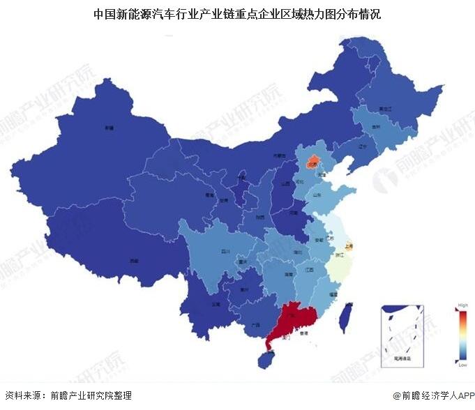 中国新能源汽车行业产业链重点企业区域热力图分布情况