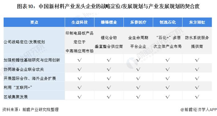 图表10:中国新材料产业龙头企业的战略定位/发展规划与产业发展规划的契合度