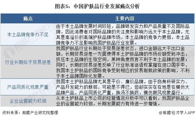 图表5:中国护肤品行业发展痛点分析