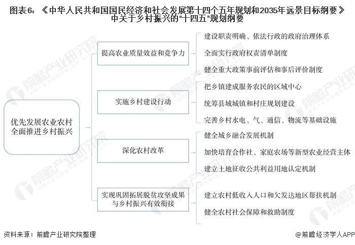 """图表6:《中华人民共和国国民经济和社会发展第十四个五年规划和2035年远景目标纲要》中关于乡村振兴的""""十四五""""规划纲要"""