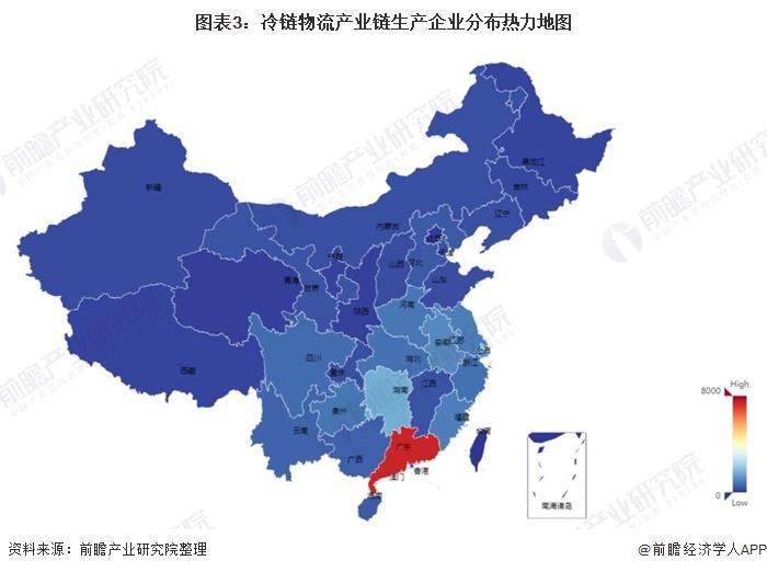 圖表3:冷鏈物流產業鏈生產企業分布熱力地圖