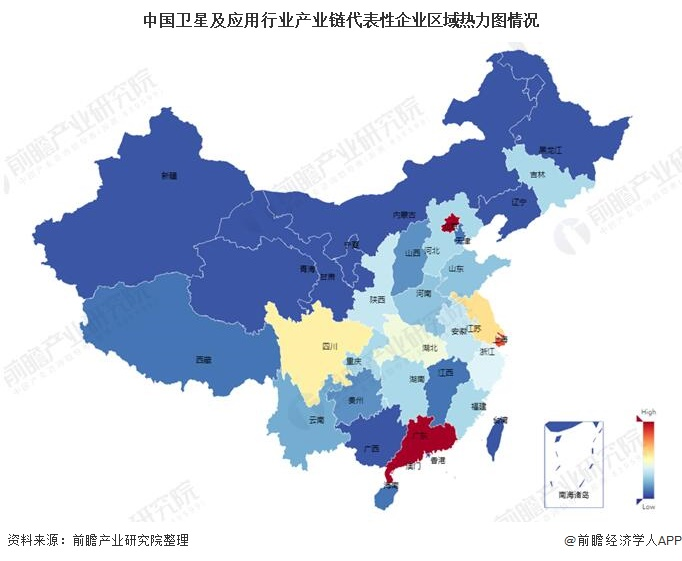 中国卫星及应用行业产业链代表性企业区域热力图情况