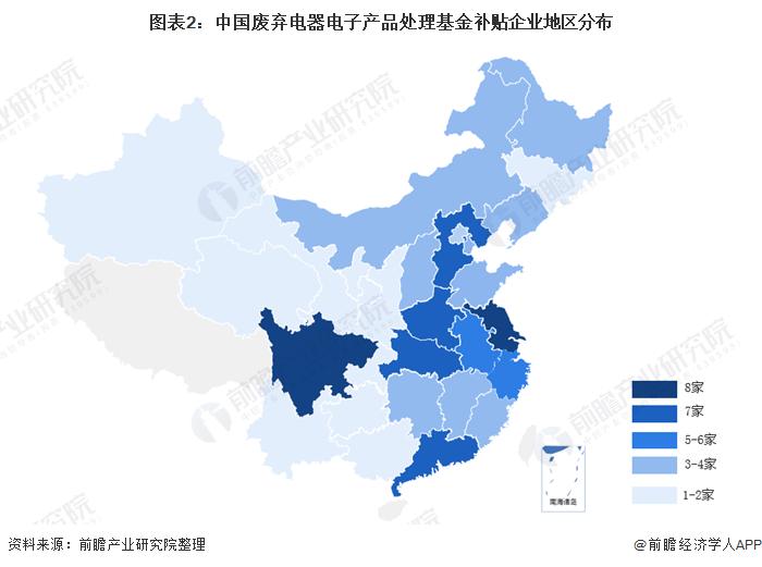 图表2:中国废弃电器电子产品处理基金补贴企业地区分布