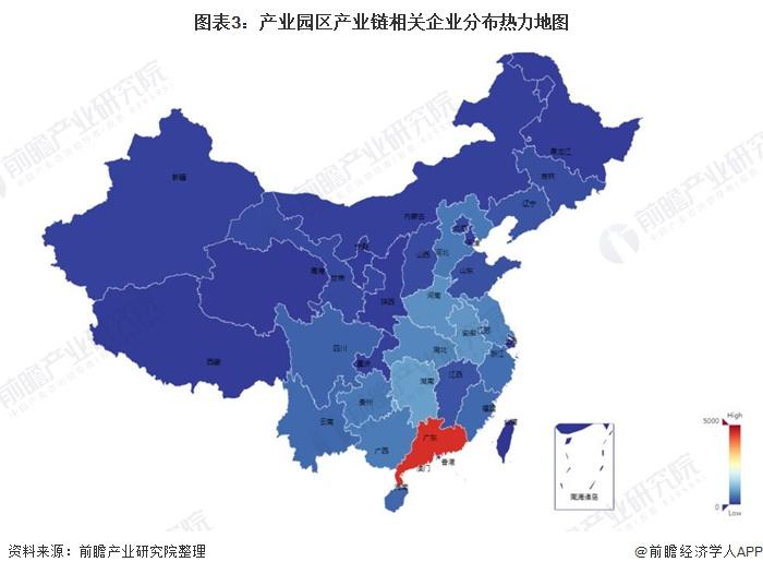 图表3:产业园区产业链相关企业分布热力地图