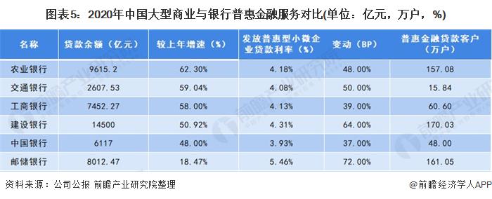 图表5:2020年中国大型商业与银行普惠金融服务对比(单位:亿元,万户,%)