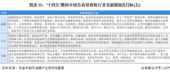 """图表12:""""十四五""""期间中国各省份保险行业发展规划及目标(五)"""