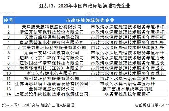图表13:2020年中国市政环境领域领先企业