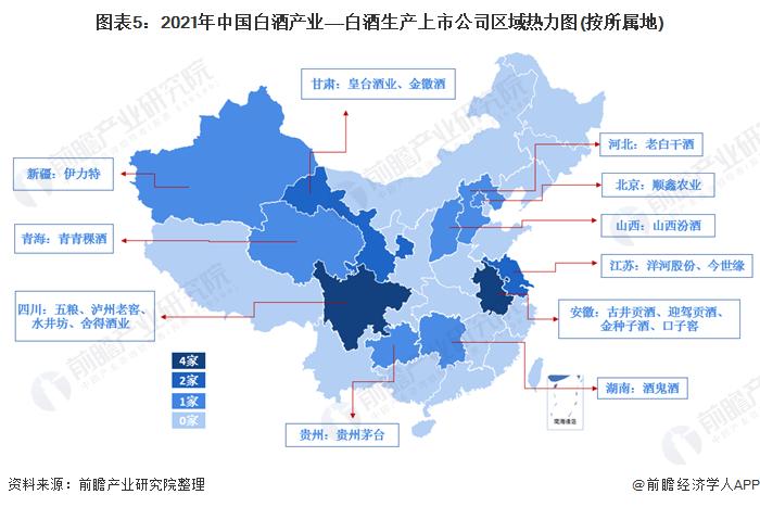 圖表5:2021年中國白酒產業——白酒生產上市公司區域熱力圖(按所屬地)
