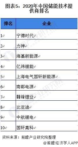 圖表5:2020年中國儲能技術提供商排名