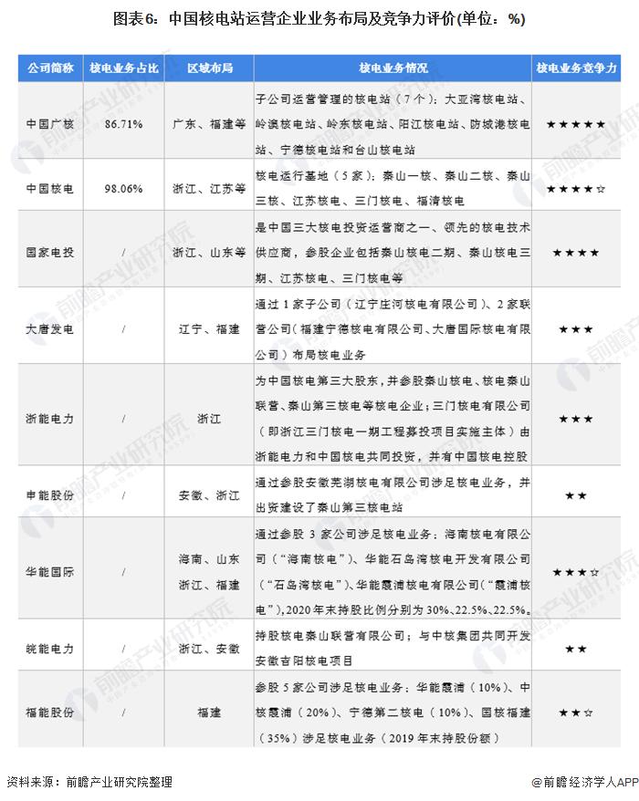 图表6:中国核电站运营企业业务布局及竞争力评价(单位:%)