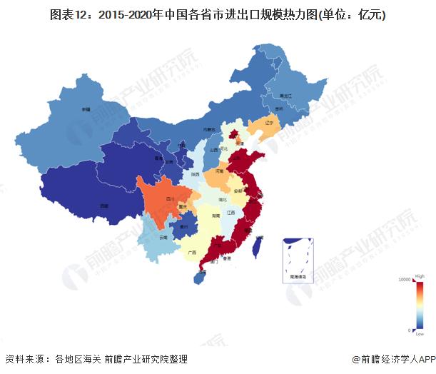 图表12:2015-2020年中国各省市进出口规模热力图(单位:亿元)