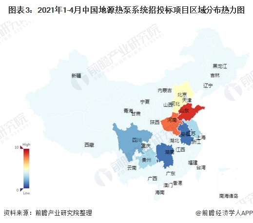 图表3:2021年1-4月中国地源热泵系统招投标项目区域分布热力图