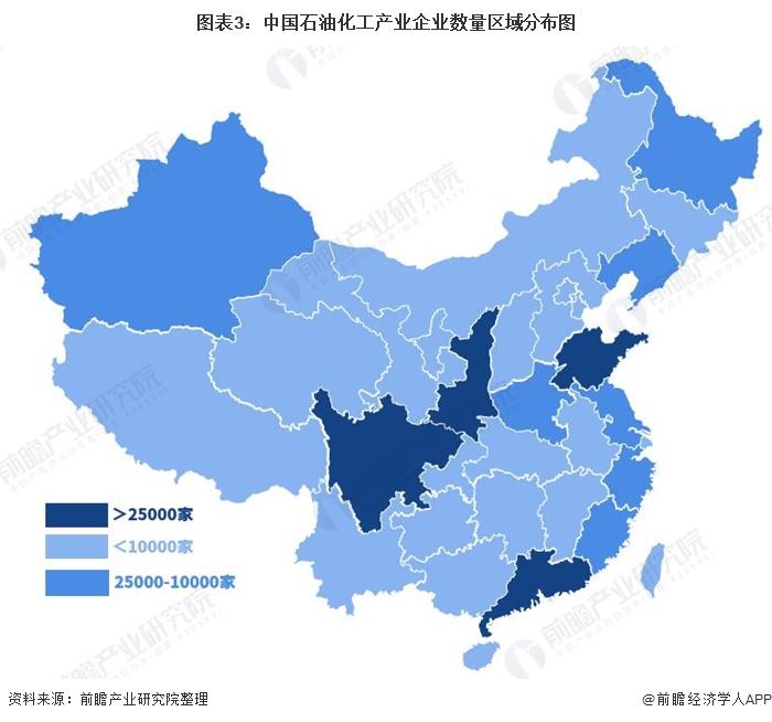 图表3:中国石油化工产业企业数量区域分布图